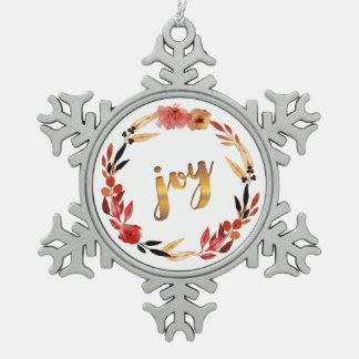 Weihnachtsfreude-Aquarell-Kranz ID292 Schneeflocken Zinn-Ornament