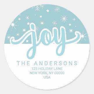 Weihnachtsfreude-blaue und weiße handgeschriebene runder aufkleber