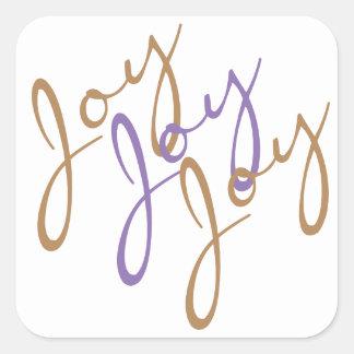 Weihnachtsfreude-Freude-Freude-Typografie-Kunst Quadratischer Aufkleber