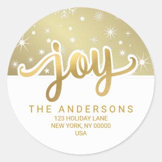 Weihnachtsfreude-Goldhandgeschriebene Runder Aufkleber