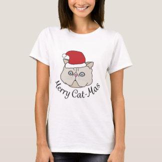 Weihnachtsfröhliche Katze - T-Shirt