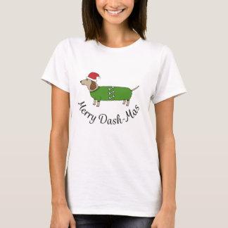 Weihnachtsfröhlicher Dackel-Wurst-HundeT - Shirt