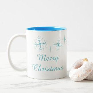 Weihnachtsfunkelnde Schneeflocke-Tasse Zweifarbige Tasse