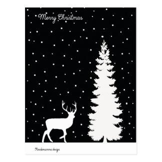 WeihnachtsGefühle - Weihnachtsbaum und Ren Postkarte