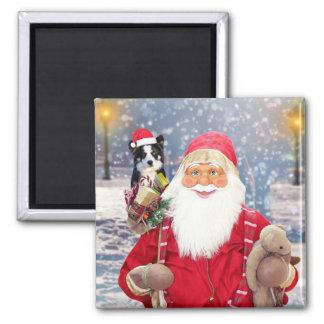 Weihnachtsgeschenk-Border-Collie-Hund Quadratischer Magnet
