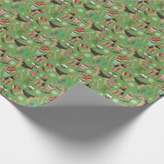 Weihnachtsgeschenkverpackung Airedales Terrier Geschenkpapierrolle