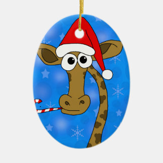 Weihnachtsgiraffe - Blau Ovales Keramik Ornament