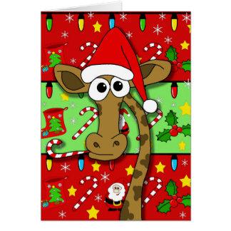 Weihnachtsgiraffe - bunt grußkarte