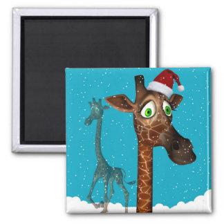Weihnachtsgiraffen-Magnetit Quadratischer Magnet