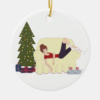WeihnachtsGlücks-Verzierung Rundes Keramik Ornament