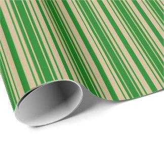 Weihnachtsgold-und Weihnachtsgrüne Streifen Geschenkpapier