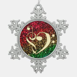 Weihnachtsgoldmusikclef-Herz-Feiertags-Verzierung Schneeflocken Zinn-Ornament