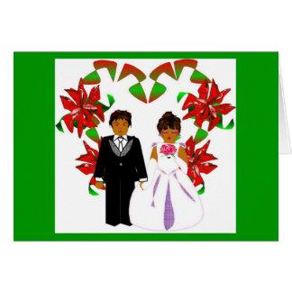 Weihnachtsgrüne Hochzeits-Blumenherz-Kranz Grußkarte