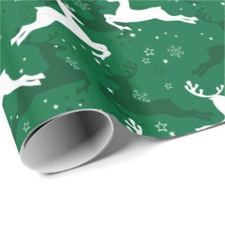 Weihnachtsgrüne und weiße springende Rotwild Geschenkpapierrolle