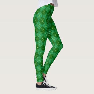 Weihnachtsgrünes schottisches kariertes leggings