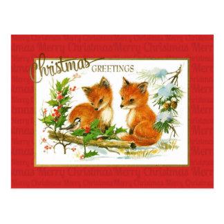 Weihnachtsgruß-Fuchs-Vintage Wiedergabe Postkarte