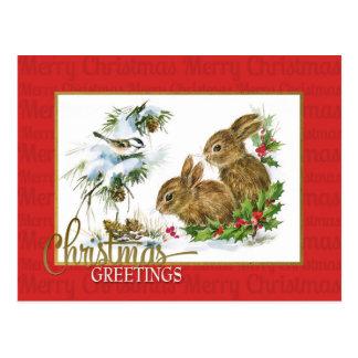 Weihnachtsgruß-Kaninchen-Vintage Wiedergabe Postkarte