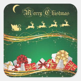 Weihnachtsgruß mit Weihnachtsmann u. Ren Quadratischer Aufkleber