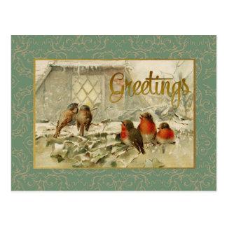 Weihnachtsgruß-Vogel-Vintage Wiedergabe Postkarte