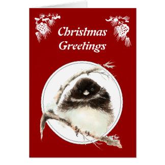 Weihnachtsgrüße, niedlicher Junco-Vogel, Scripture Karte