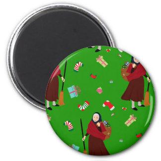 Weihnachtshexe Befana Runder Magnet 5,7 Cm