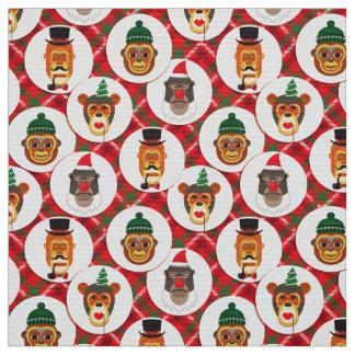 WeihnachtsHipster monkeys Weihnachtsgewebe Stoff