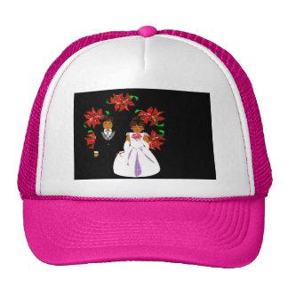 Weihnachtshochzeits-Paare im rosa runden Kranz Kult Cap