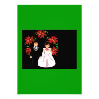Weihnachtshochzeits-Paare mit Kranz-Grün-Rot