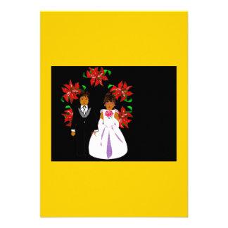 Weihnachtshochzeits-Paare mit Kranz im Gold