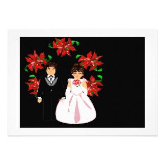 Weihnachtshochzeits-Paare mit Kranz im weißen Gold