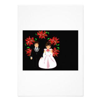 Weihnachtshochzeits-Paare mit Kranz-weißem