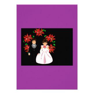 Weihnachtshochzeits-Paare mit Wreath in Lila
