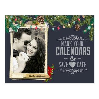 Weihnachtshochzeits-Tafel Save the Date Postkarte