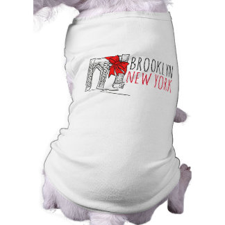 Weihnachtshund T Brooklyn-Brücken-New York City Ärmelfreies Hunde-Shirt