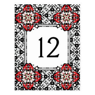 Weihnachtsjahreszeit-Damast-elegante Tischnummer Postkarte