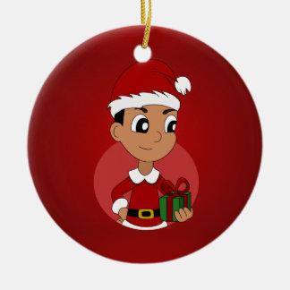 Weihnachtsjungen-Cartoon Rundes Keramik Ornament