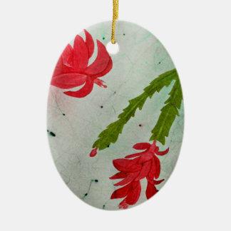 Weihnachtskaktuss-Aquarell Keramik Ornament
