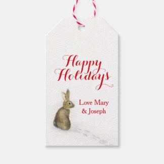 Weihnachtskaninchen im Schneegeschenkumbau Geschenkanhänger