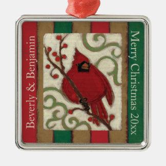 WeihnachtsKardinal personalisiert Silbernes Ornament