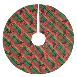 Weihnachtskariertes Muster Polyester Weihnachtsbaumdecke