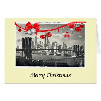Weihnachtskarte - Brooklyn-Brücke, New York City Grußkarte