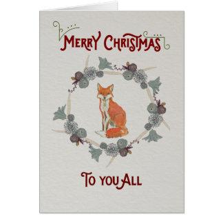 Weihnachtskarte, die einen Fuchs kennzeichnet Karte
