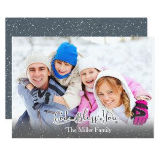 Weihnachtskarte - Familien-Foto - Gott segnen Sie! 12,7 X 17,8 Cm Einladungskarte