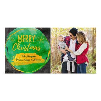 Weihnachtskarte mit Fotogrün, Goldwatercolor Karte