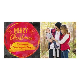 Weihnachtskarte mit Fotorot, Goldwatercolor Karte