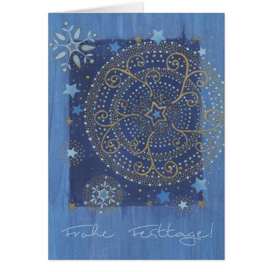 Weihnachtskarte mit Ornament in Blau und Gold Karte