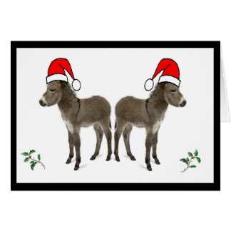 Weihnachtskarte mit Stechpalme und Esel Karte