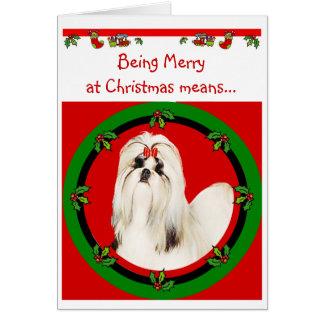 Weihnachtskarte Shih Tzu Grußkarte