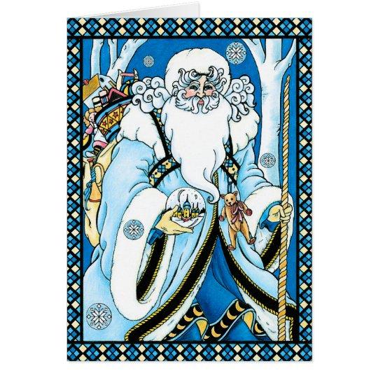 Weihnachtskarte: Vater-Weihnachten mit Geschenken Karte