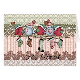 Weihnachtskarte Vögelchen und Strümpfe Karte